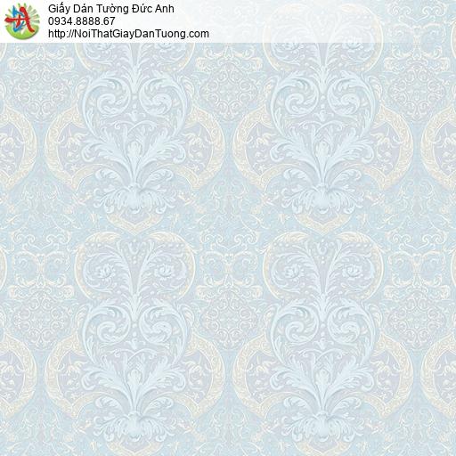 27141 - Giấy dán tường họa tiết cổ điển Châu Âu mà xanh nhạt, xanh lơ