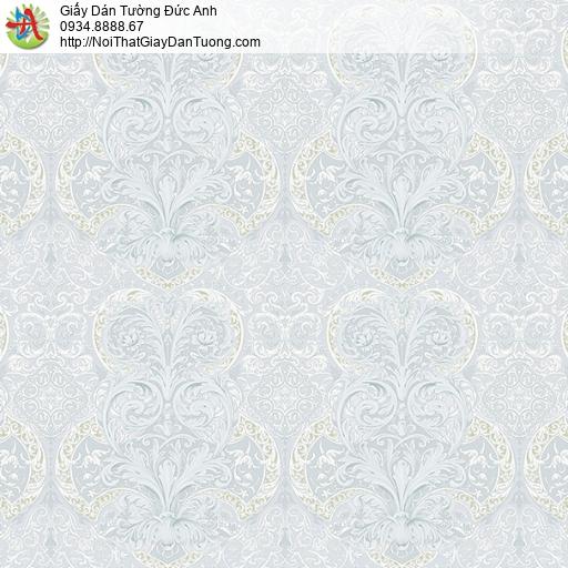 27142 - Giấy dán tường hoa văn họa tiết cổ điển Châu Âu màu xanh nhạt
