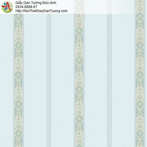 27151 - Giấy dán tường kẻ sọc có họa tiết màu xanh lơ, dạng sọc xanh