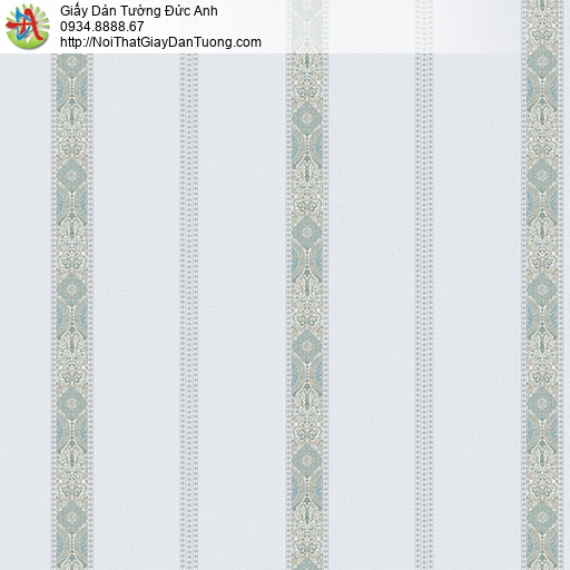 27152 - Giấy dán tường dạng kẻ sọc đứng màu xám xanh, sọc có hoa văn