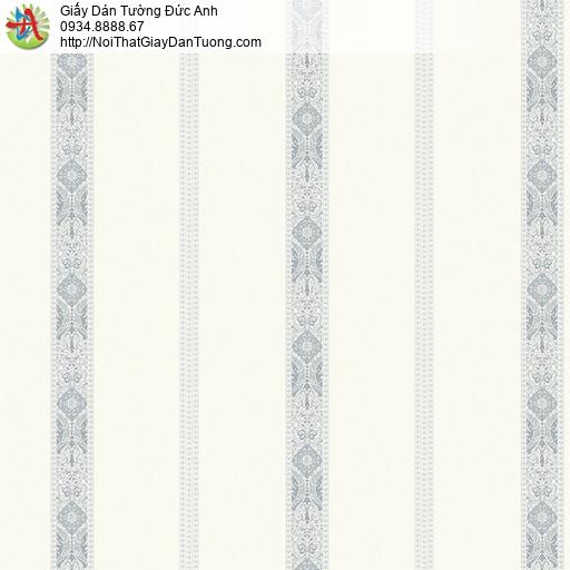27153 - Giấy dán tường sọc thẳng đứng màu vàng nhạt đường kẻ màu xám