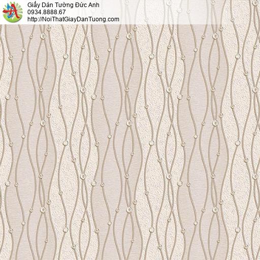 63004- Giấy dán tường họa tiết uốn lượn zic zac màu nâu nhạt, vàng đất