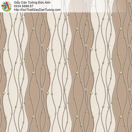 63005 - Giấy dán tường kiểu zic zac uốn lượn màu nâu, màu trứng gà