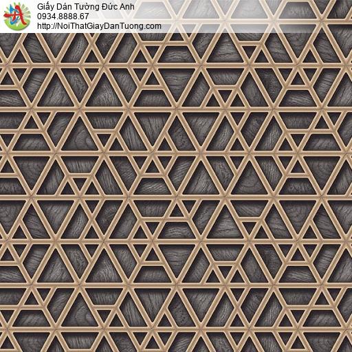 6304- Giấy dán tường dạng lưới 3D màu đên, họa tiết đường kẻ màu vàng