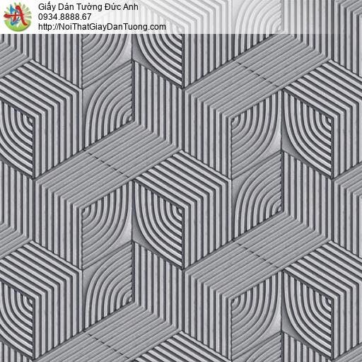 63076 - Giấy dán tường họa tiết lập thể trắng đen, lập thể đen trắng