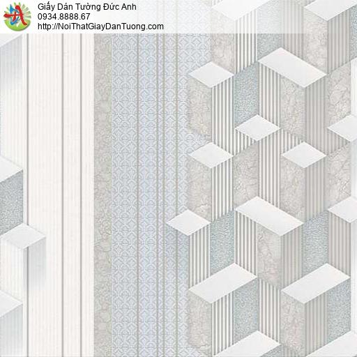 10041 - Giấy dán tường họa tiết lập thể màu xanh nhạt, hiệu ứng 3D đẹp