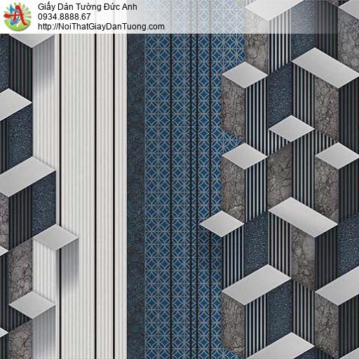 10043- Giấy dán tường họa tiết hình lập thể 3d màu xanh dương, màu xám