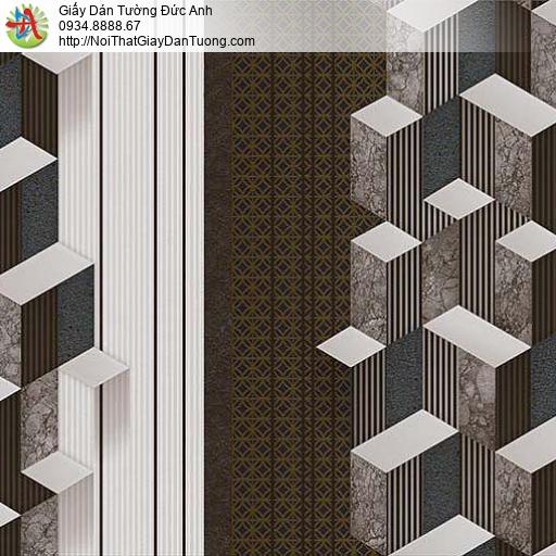 10044 - Giấy dán tường lập thể màu nâu, giấy 3D màu xám điểm nhấn đẹp