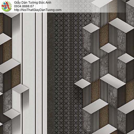 10045 - Giấy dán tường họa tiết hình lập thể 3D màu đen, màu đen trắng