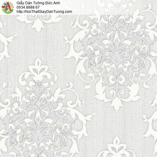 10052 - Giấy dán tường cổ điển màu xám, phong cách Châu Âu