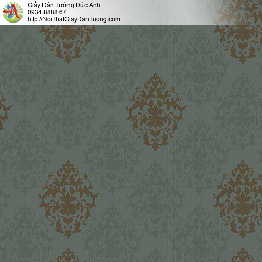 10064 - Giấy dán tường cổ điển phong cách Châu âu màu xanh ngọc