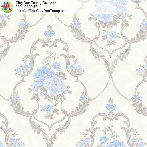10082 - Giấy dán tường chùm bông hoa màu xanh dương, nền màu kem nhạt