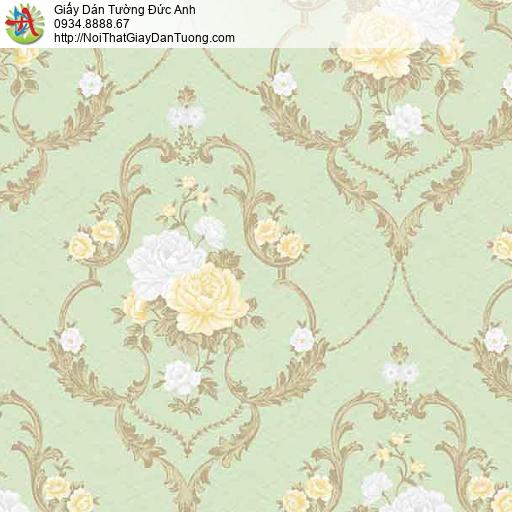 10083- Giấy dán tường những chùm bông hoa màu vàng, trắng, nền xanh lá