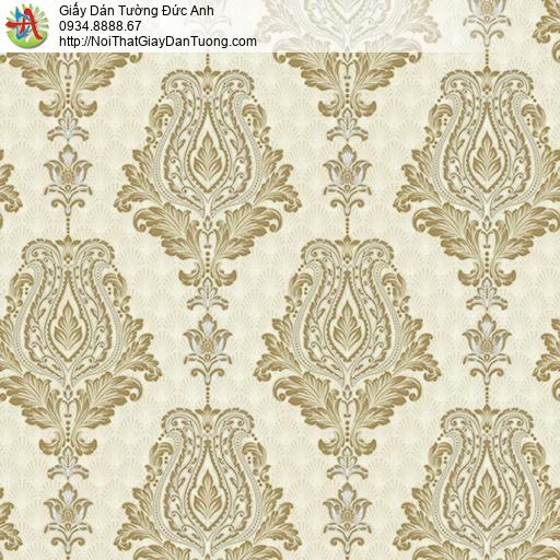 10111 - Giấy dán tường hoa văn cổ điển màu vàng, phong cách Châu Âu