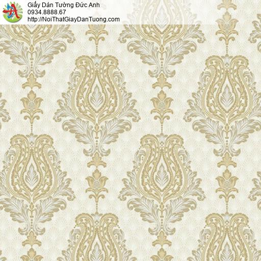 10112 - Giấy dán tường hoa văn cổ điển phong cách Châu Âu màu vàng