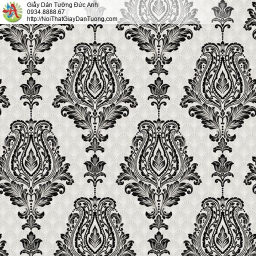 10113 - Giấy dán tường họa tiết cổ điển màu trắng đen, phong cách cổ