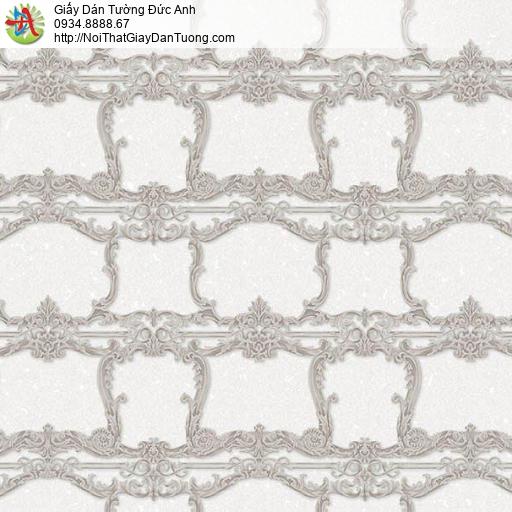 10131 - Giấy dán tường họa tiết cổ điển màu xám, kiểu Châu Âu màu sáng