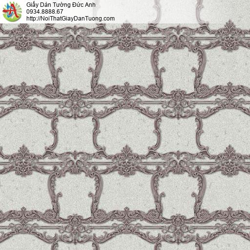 10132 - Giấy dán tường hoa văn cổ điển màu nâu, nền màu xám