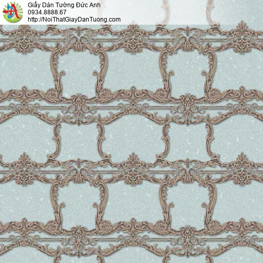 10135 - Giấy dán tường hoa văn màu nâu nền màu xanh lơ
