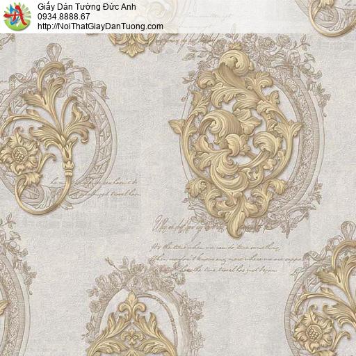 63011 - Giấy dán tường hoa văn cổ điển châu âu màu vàng, màu xám