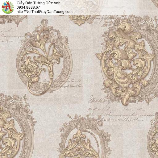 63012- Giấy dán tường họa tiết cổ điển màu vàng đất, màu vàng cam nhạt