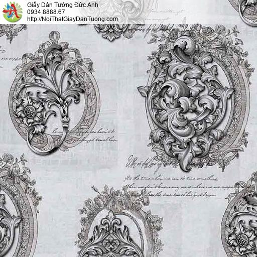 63014 - Giấy dán tường hoa văn cổ điển màu trắng đen, màu đen trắng