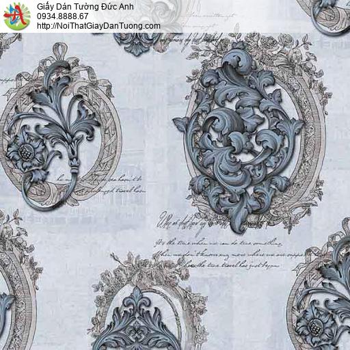 63015 - Giấy dán tường cổ điển màu xanh biển, hoa văn màu xanh than