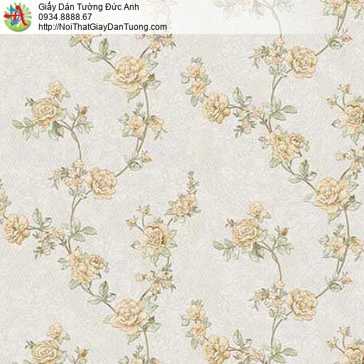 63084 - Giấy dán tường hoa văn dây leo, nhiều bông hoa nhỏ màu vàng