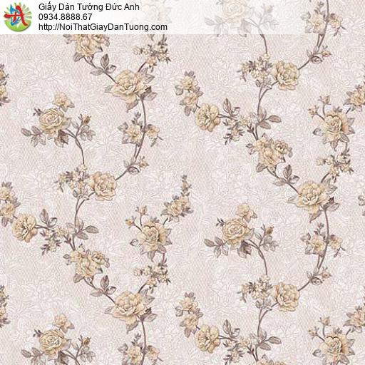 63085 - Giấy dán tường bông hoa dây leo màu nâu nhật, bông hoa nhỏ