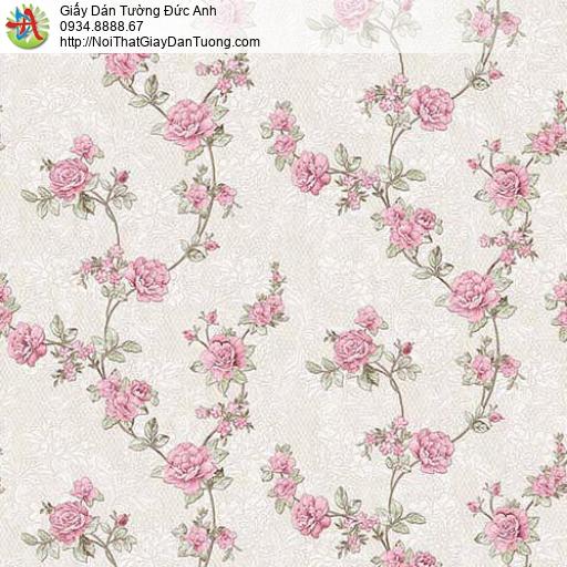63086 - Giấy dán tường bông hoa dây leo tường màu hồng, bông hoa nhỏ
