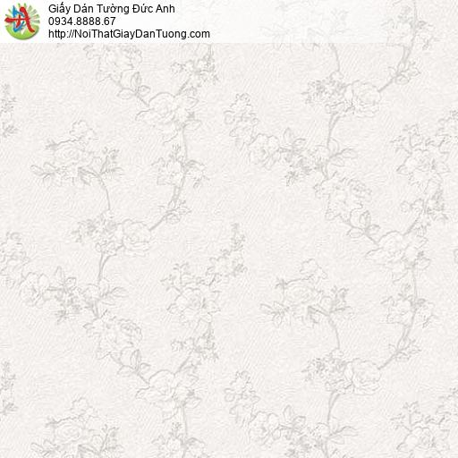 63087 - Giấy dán tường hoa văn dây leo màu nhạt, hoa văn chìm vào nền