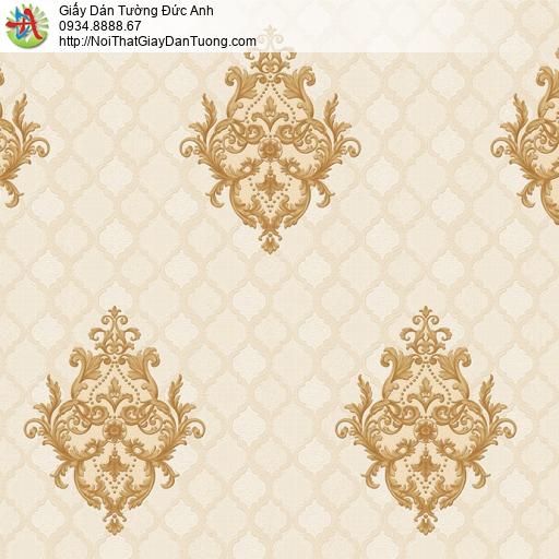 8801-1 - Giấy dán tường hoa văn cổ điển màu vàng nền kẻ ca rô