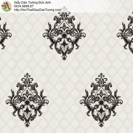 8801-2- Giấy dán tường hoa văn hình dạng ca rô màu đen nền màu xám nhẹ