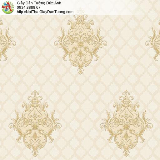 8801-3 - Giấy dán tường họa tiết caro màu vàng, phong cách cổ điển
