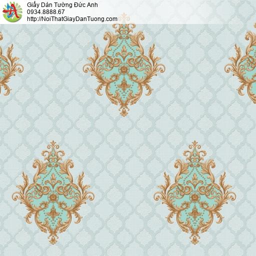 8801-5 - Giấy dán tường hoa văn hình ca rô màu xanh cổ điển Châu Âu