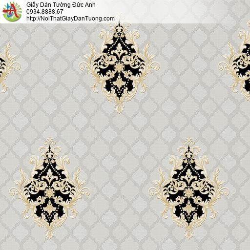 8801-6 - Giấy dán tường nền ca rôi hoa văn màu đen cổ điển, đen vàng