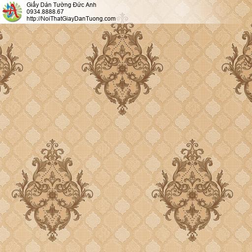 8801-7 - Giấy dán tường màu nâu họa tiêt ca rô cổ điển style Châu Âu