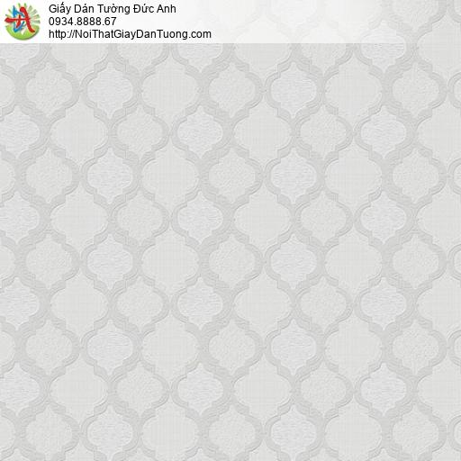 8802-1 - Giấy dán tường hình nền ca rô màu xám, họa tiết hình con thoi