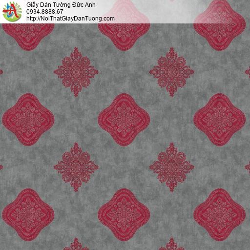 8805-1- Giấy dán tường họa tiết ca rô màu đỏ, nền giả bê tông, xi măng