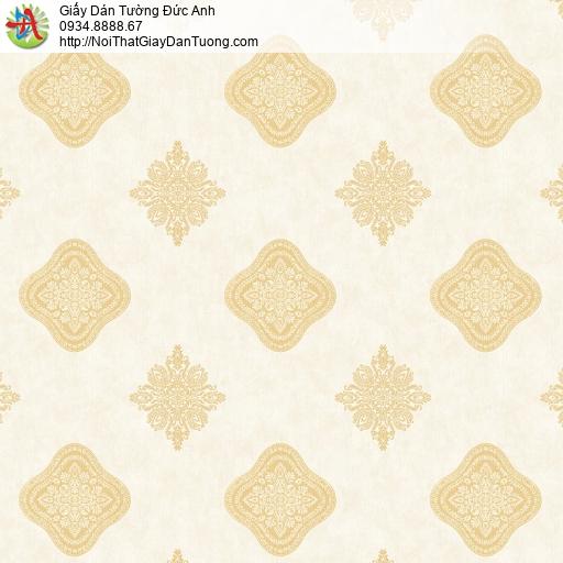 8805-2- Giấy dán tường họa tiết xếp ca rô màu vàng, phong cách cổ điển