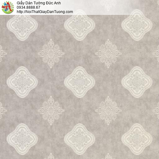 8805-3 - Giấy dán tường họa tiết hình ca rô màu xám, nền giả bê tông