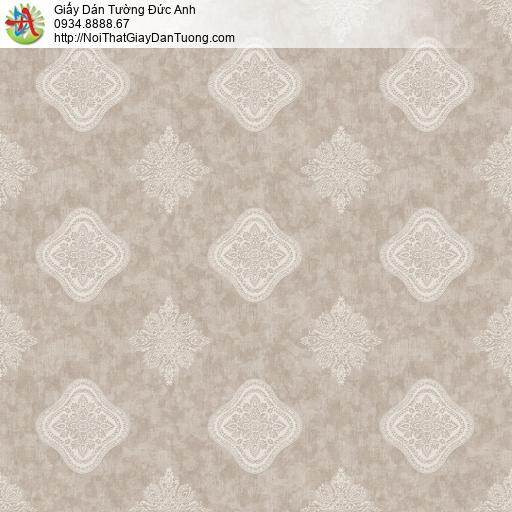 8805-4- Giấy dán tương hình ca rô màu nâu nhạt, vàng nhạt kiểu cổ điển