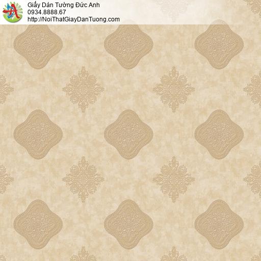 8805-5 - Giấy dán tường kiểu ca rô màu vàng, phong cách cổ điển