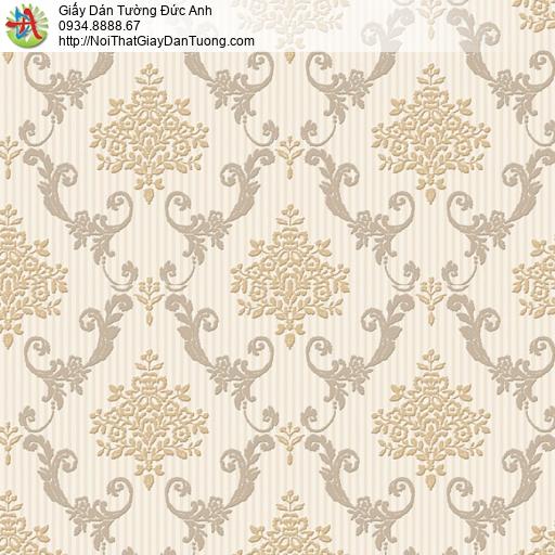 8807-1 - Giấy dán tường hoa văn cổ điển họa tiết ca rô màu vàng nhạt