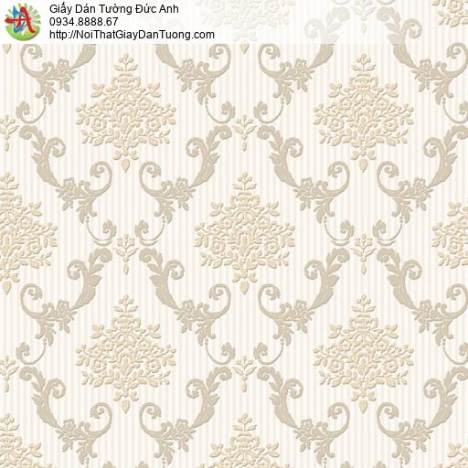 8807-2 - Giấy dán tường dạng cổ điển màu vàng kem, vàng nhạt, ca rô