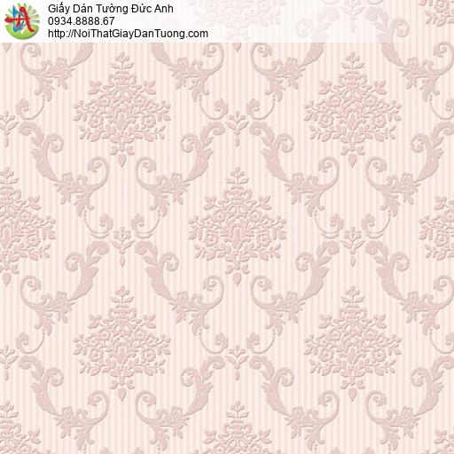 8807-3 - Giấy dán tường họa tiết ca rô màu hồng, phong cách Châu Âu