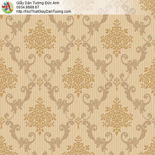 8807-4 - Giấy dán tường màu vàng đồng, họa tiết ca rô cổ điển