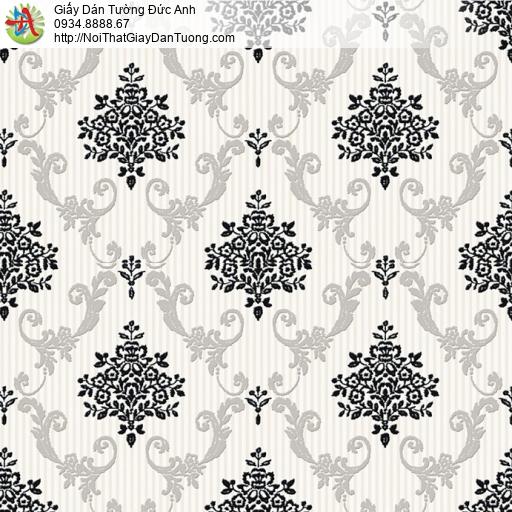 8807-5 - Giấy dán tường hoa văn ca rô màu đen trắng, cổ điển trắng đen