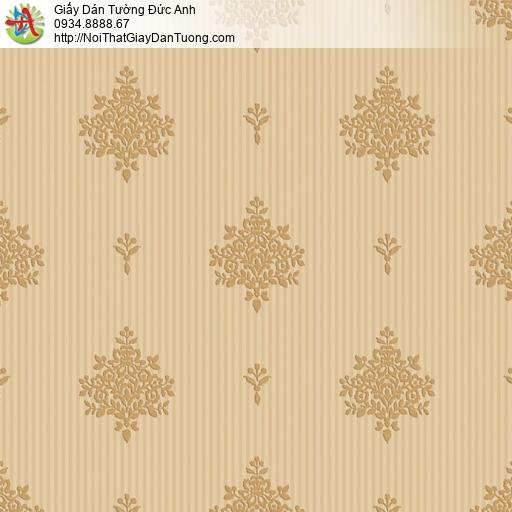 8808-1 - Giấy dán tường hoa văn cổ điển màu vàng đồng, bán giấy tại Q6