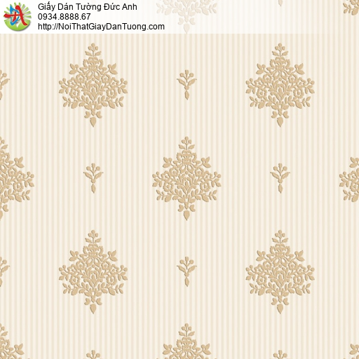 8808-2- Giấy dán tường cổ điển màu vàng kem, giấy dán tường Bình Chánh